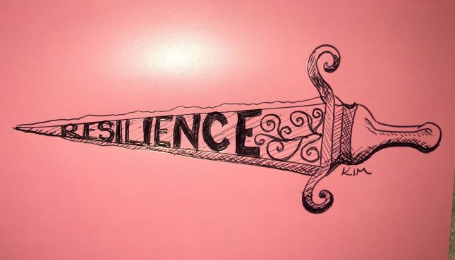 Resilience - my sword for cutting through the crap that life can throw. Inktober Illustration.