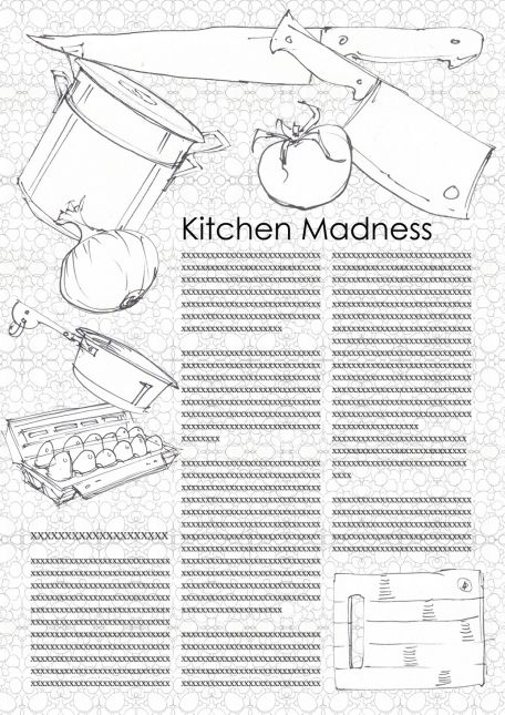 kitchen Madness with scribble background