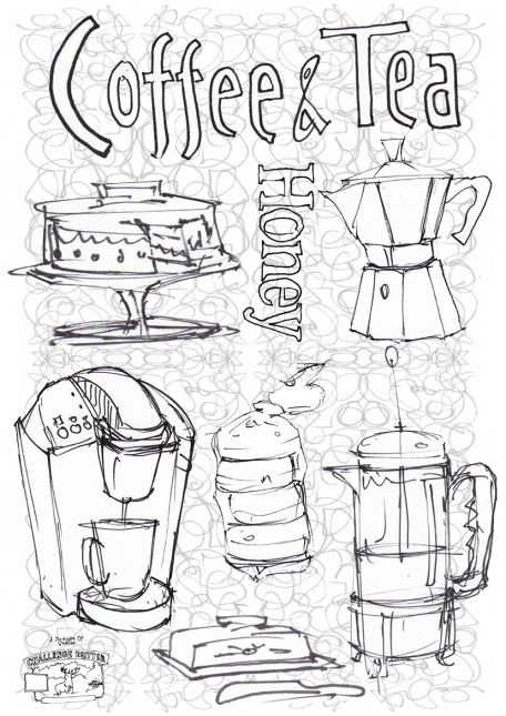 Coffee & tea with scribble back ground