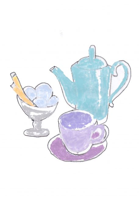 Jug, cup and ice cream