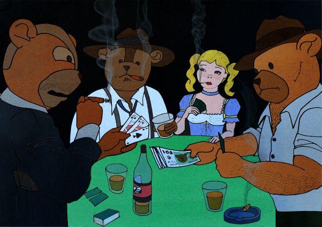Goldilocks & The Three Bears playing poker