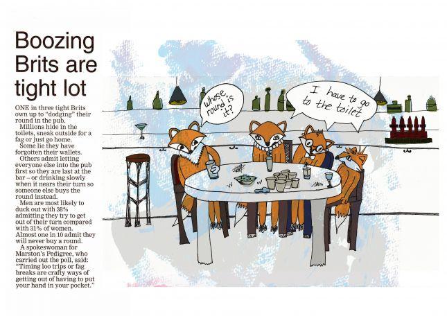 Boozing Brits are tight lot editorial illustration