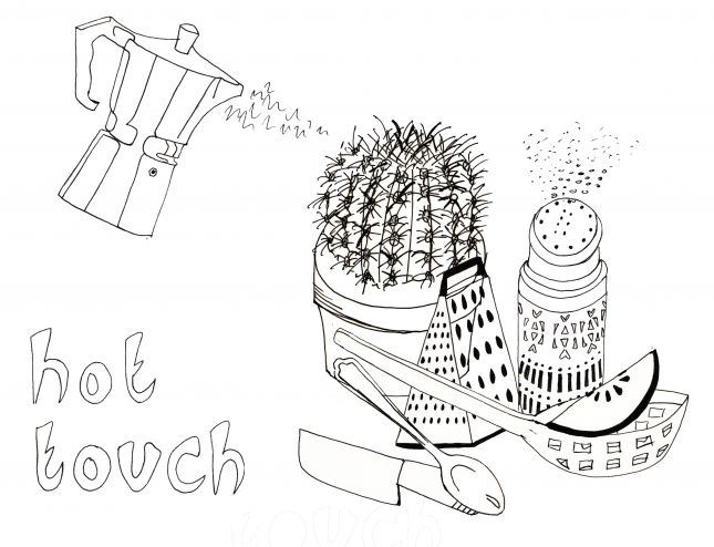 Line Drawing Composition - hot touch