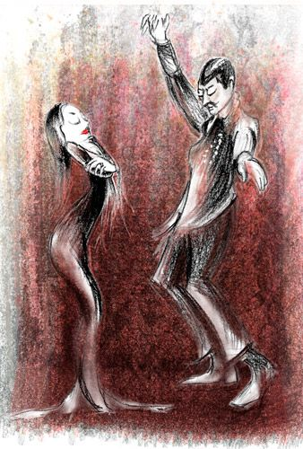 Dancing Morticia and Gomez
