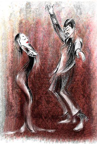Dancing Morticia and Gomez