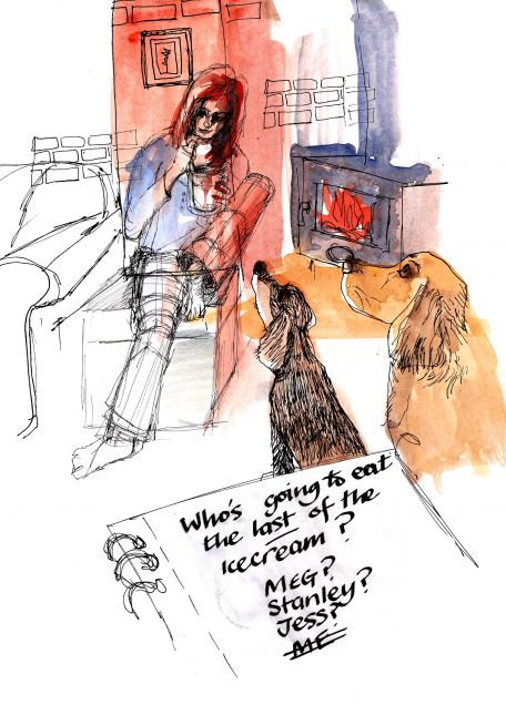 Reportage. Really didn't know where to begin, so looked straight ahead with my sketchbook!