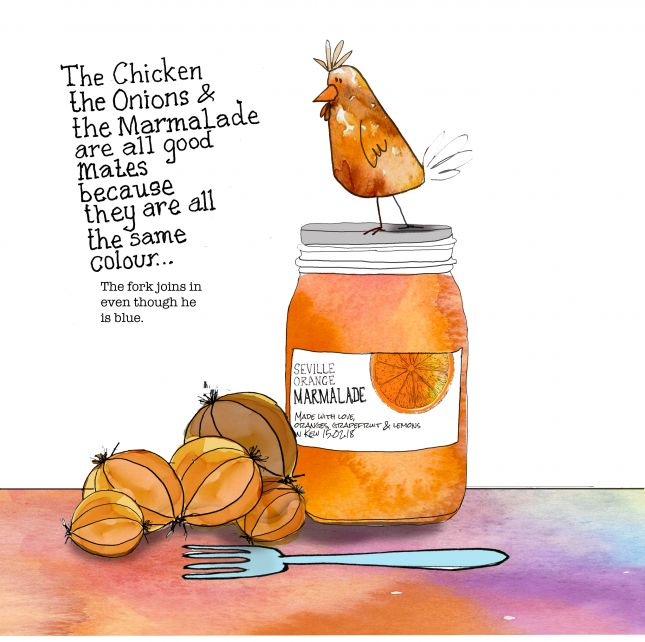 The chicken, the marmalade and the onions.(A bit like The lion, the witch and the wardrobe!)