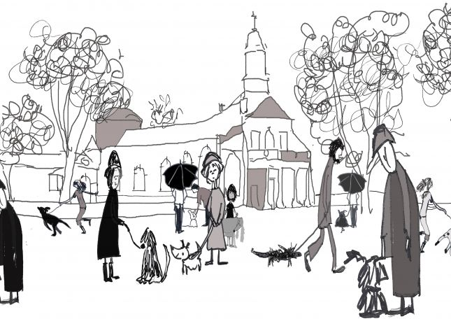 Walking the dogs on Kew Green - an attempt at reportage!
